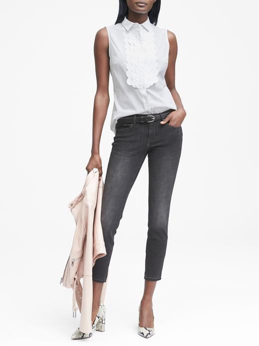 Beyaz Riley-Fit Kolsuz Gömlek