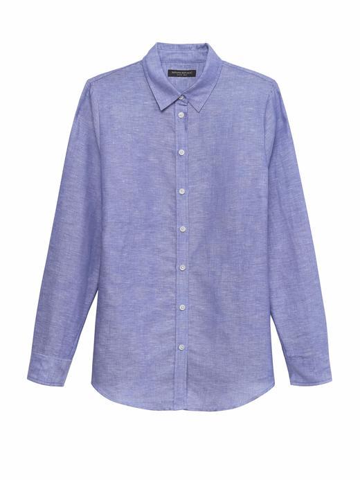 Dillon Classic-Fit Keten ve Pamuk Karışımlı Gömlek