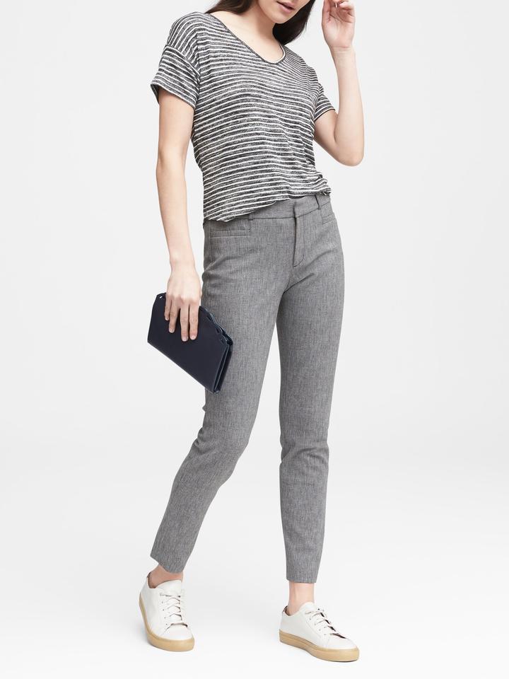 Kadın kırçıllı gri Sloan Skinny-Fit Pantolon