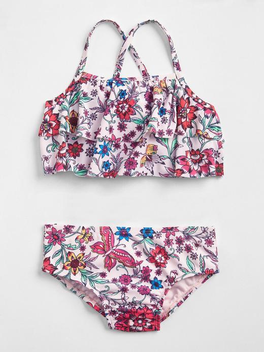 çiçek desenli Çiçek desenli fırfırlı bikini takımı