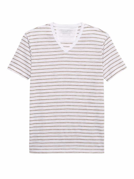 Vintage Çizgili V Yaka T-Shirt