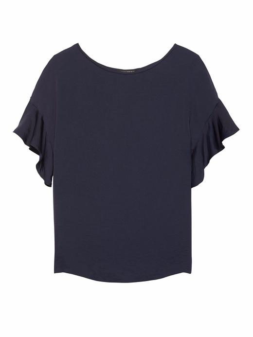 Kadın lacivert Kolları Fırfırlı T-Shirt
