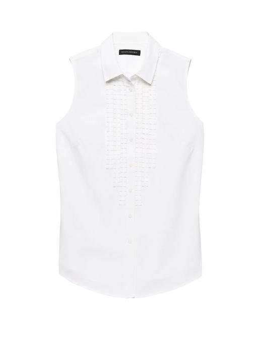 Kadın Beyaz Riley-Fit Fırfırlı Kolsuz Gömlek