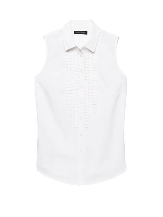 Riley-Fit Fırfırlı Kolsuz Gömlek