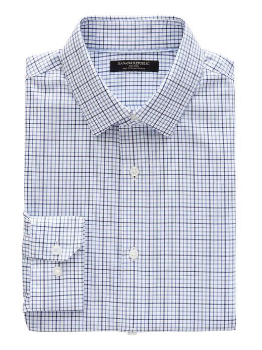 Erkek parlak mavi Grant Slim-Fit Ütü Gerektirmeyen Streç Ekose Gömlek