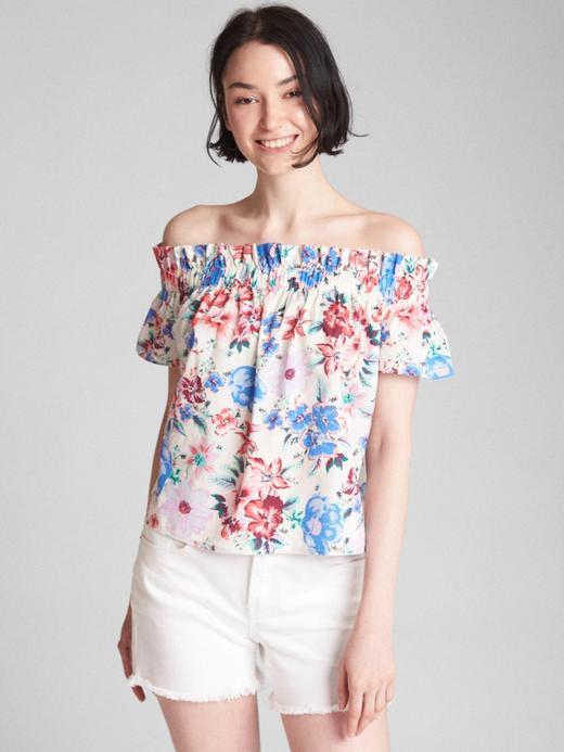 Kadın beyaz Kısa kollu düşük omuzlu bluz
