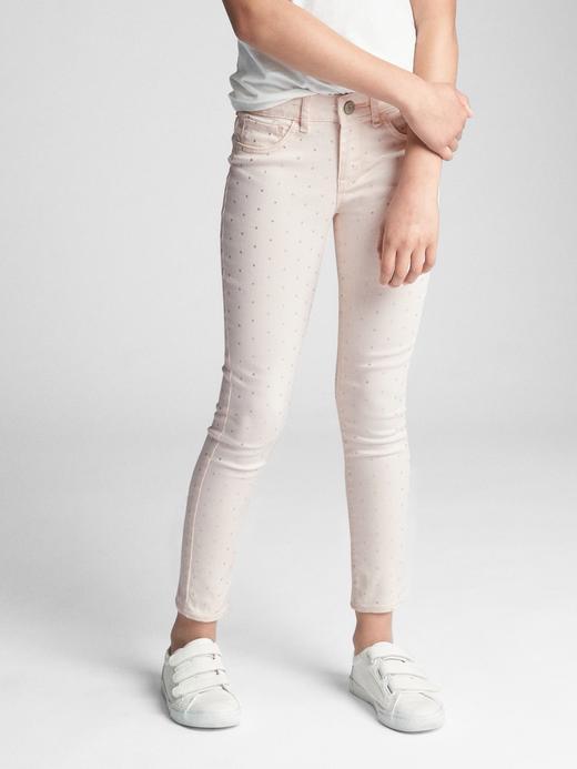 Metalik detaylı jean tayt pantolon