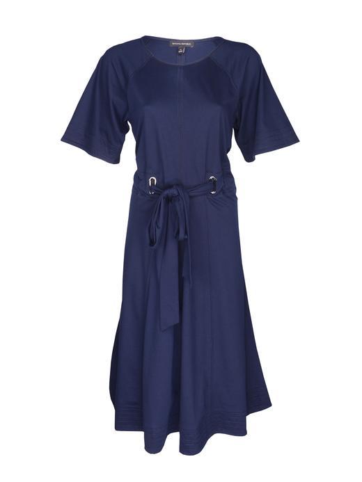 lacivert Kuşaklı Yarım Kollu Elbise