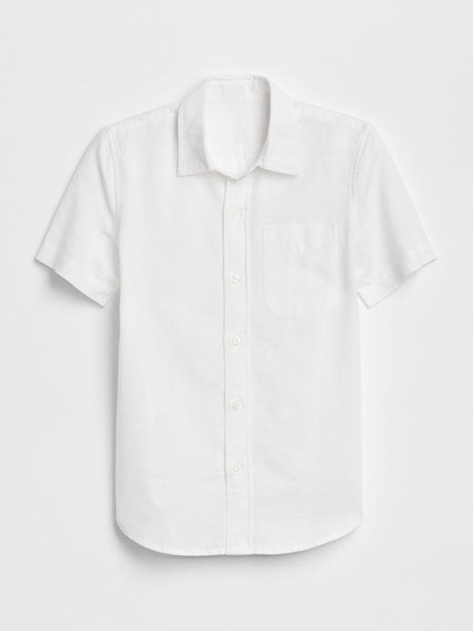 Kısa kollu keten ve pamuk karışımlı gömlek