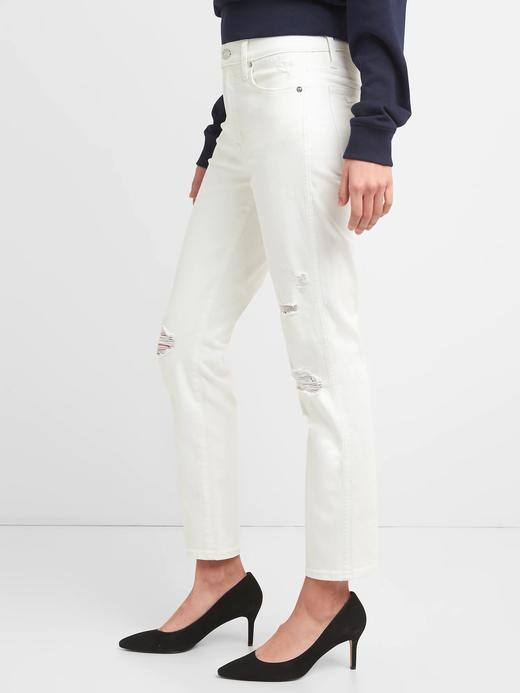 Yüksek belli slim straight jean pantolon