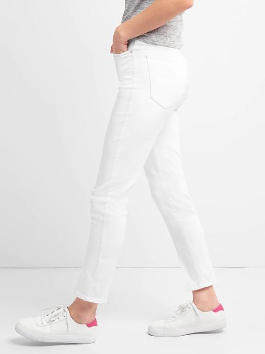 Yüksek belli yırtmaçlı skinny jean pantolon