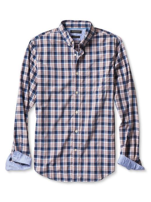 mavi ekoseli Grant-Fit ekoseli gömlek