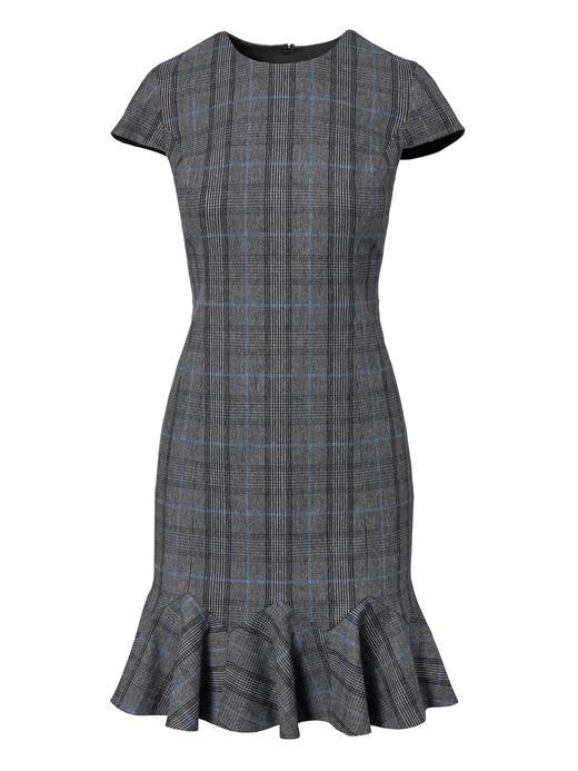 gri ekoseli Ekoseli Fırfır Detaylı Sheath-Fit Elbise