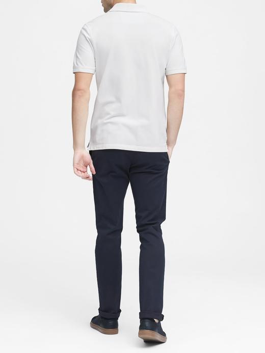 Erkek lacivert Signature Piqué Polo Yaka T-Shirt
