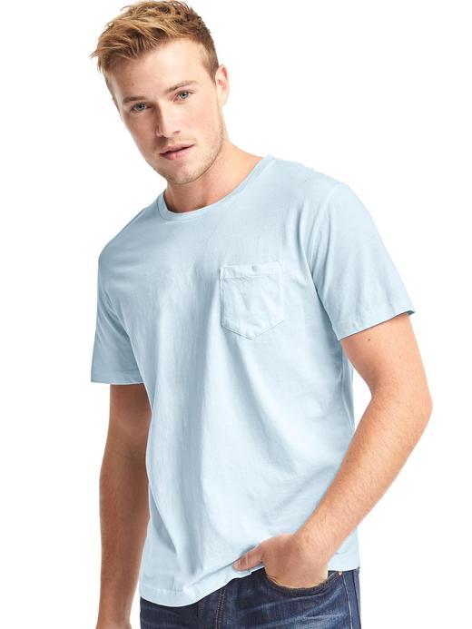 mavi Saf Pamuklu Cepli Sıfır Yaka T-Shirt