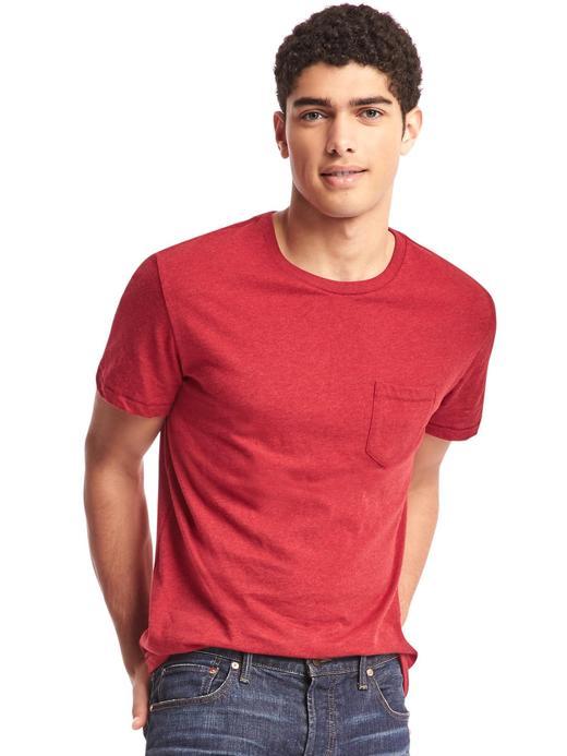 Kırmızı Saf Pamuklu Cepli Sıfır Yaka T-Shirt