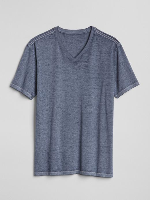mavi Kısa Kollu V Yaka T-Shirt