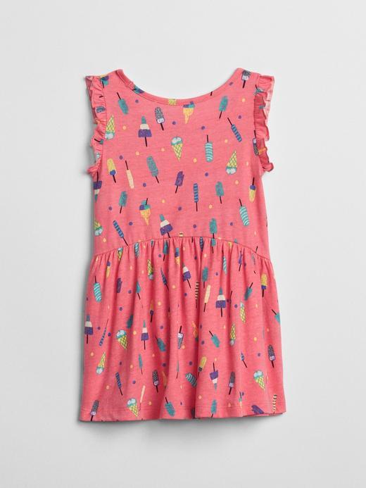 Bebek Renkli Desenli Fırfırlı Elbise