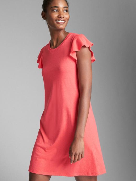 Kadın mercan Softspun Fırfır Kollu Elbise