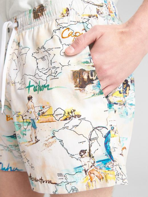 Erkek Turuncu GapFlex Desenli Şort Mayo