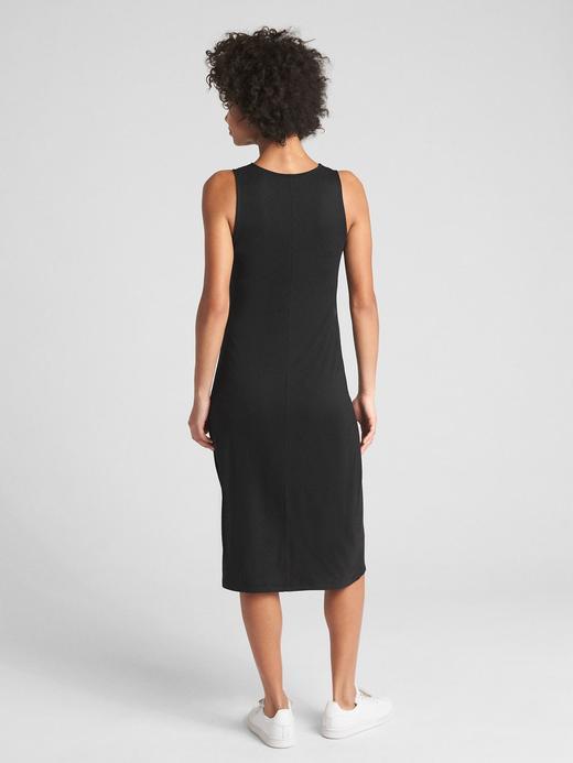 Kadın Siyah Büzgülü Kolsuz Midi Elbise