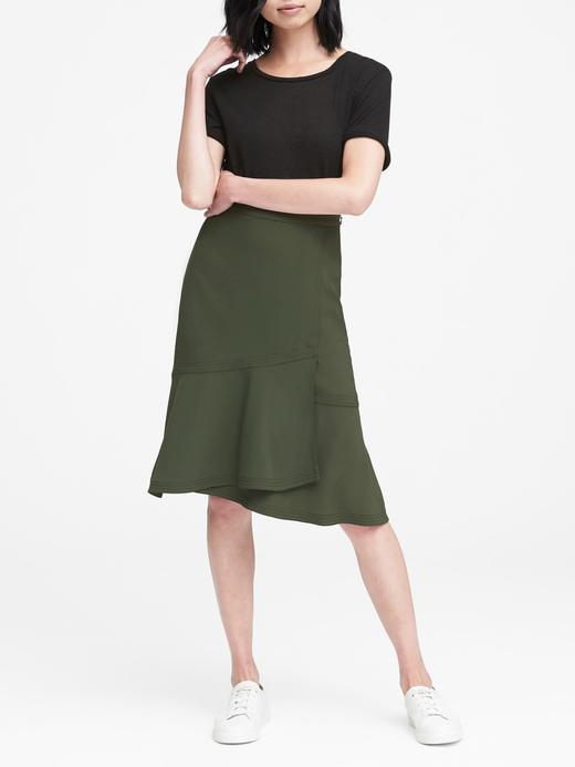Kadın yeşil Fırıfrlı Etek