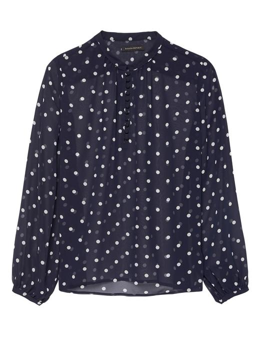 Puantiyeli Uzun Kollu Bluz Gömlek
