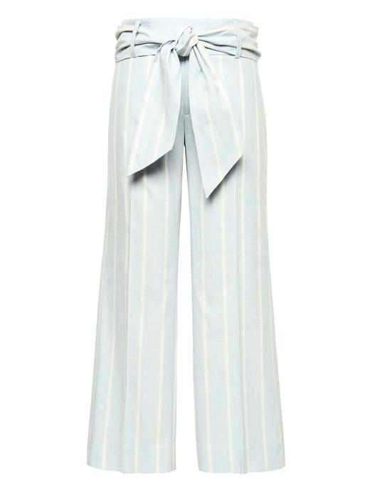 Kadın açık mavi Logan Trouser-Fit Keten ve Pamuk Karışımlı Pantolon
