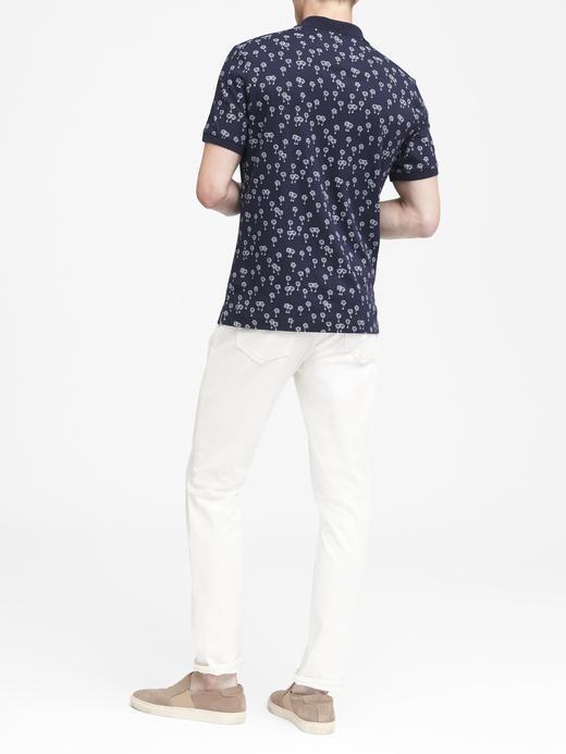 Luxury-Touch Palmiye Desenli Polo Yaka T-Shirt