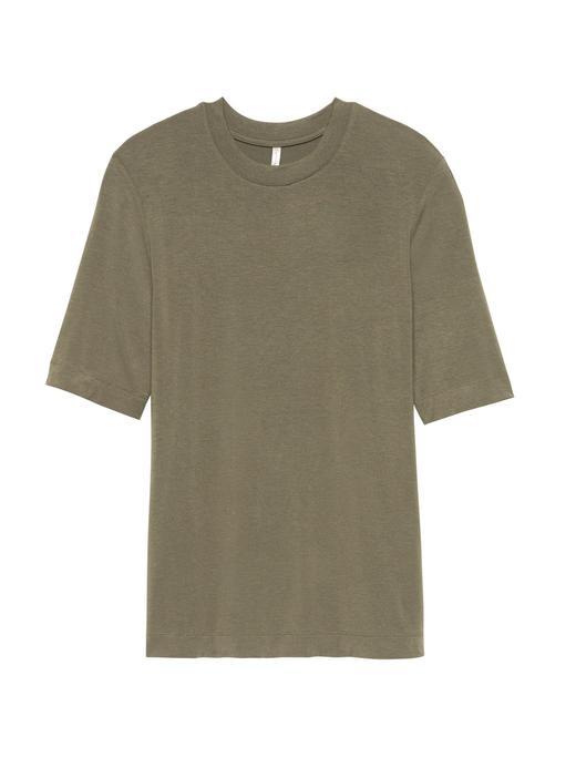 Kadın yeşil Sıfır Yaka Yumuşak Dokulu Streç T-Shirt