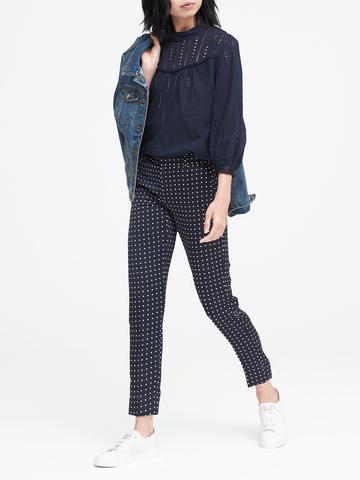 Kadın puantiyeli lacivert Avery Straight-Fit Puantiyeli Pantolon