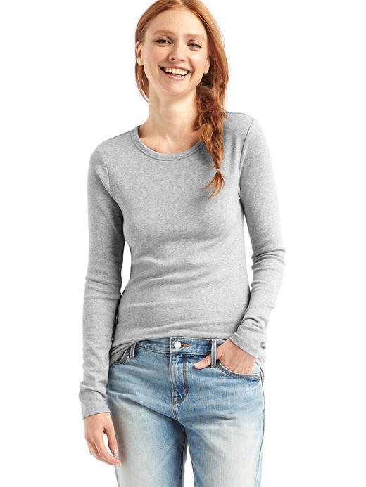 Kadın Gri Uzun Kollu Sıfır Yaka T-Shirt