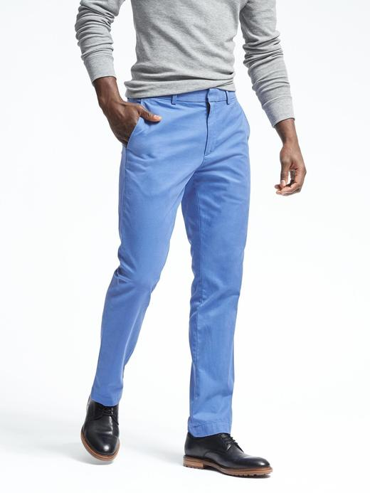 Erkek açık mavi Aiden Slim Chino Pantolon (Saf Pamuklu)