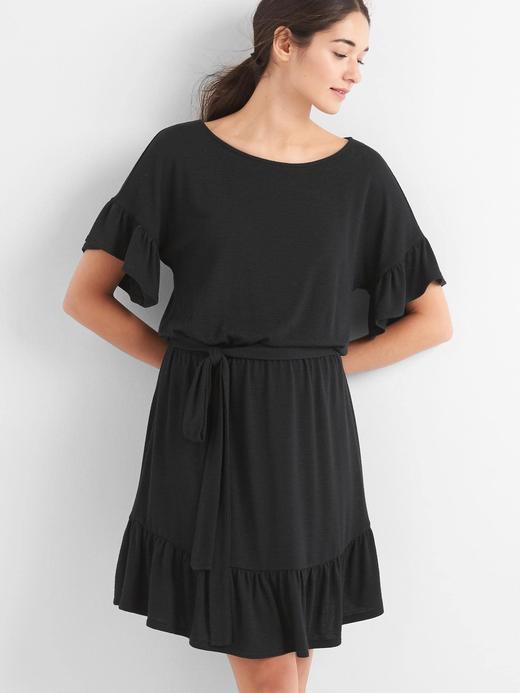 Kadın Siyah Fırfır Detaylı Kemerli Elbise