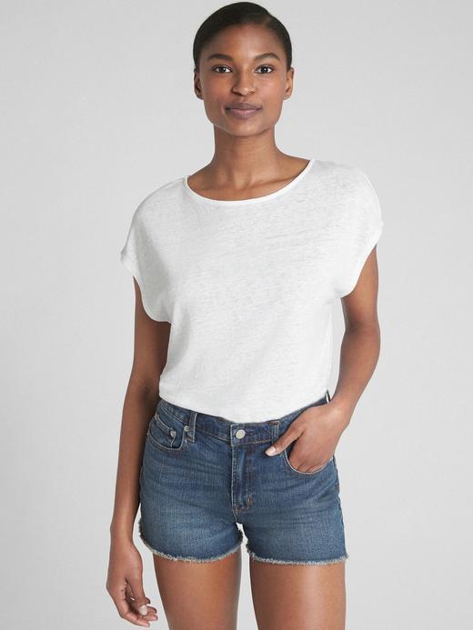 Kadın beyaz Kısa kollu arka detaylı keten t-shirt