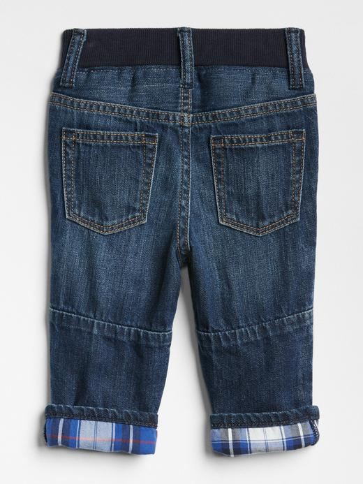 Ekose Astarlı Straight Jean Pantolon