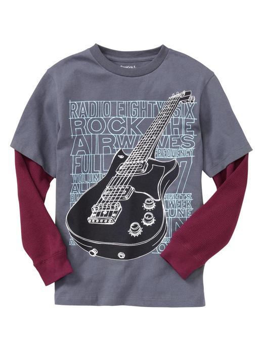 gri Basklı Uzun Kollu T-shirt