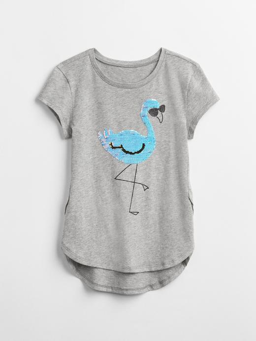 Kız Çocuk açık pembe Pullu baskılı kısa kollu t-shirt