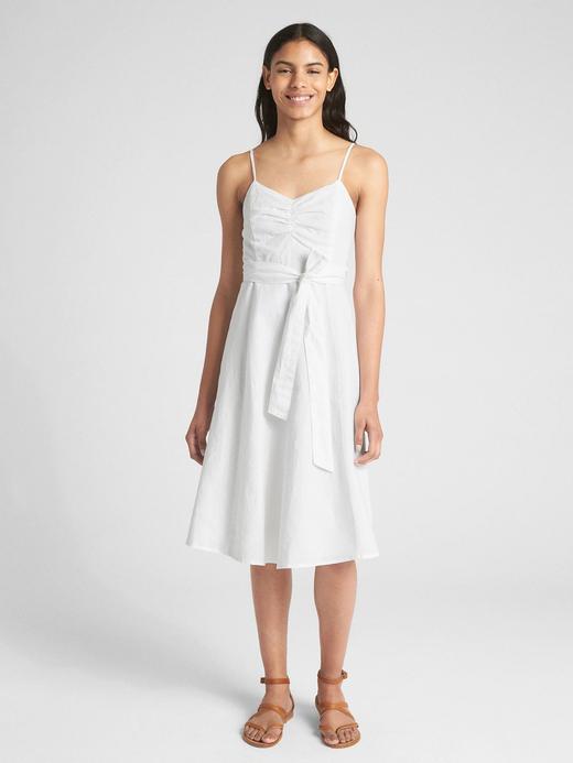 Kadın Beyaz Keten Pamuk Karışımlı Askılı Elbise