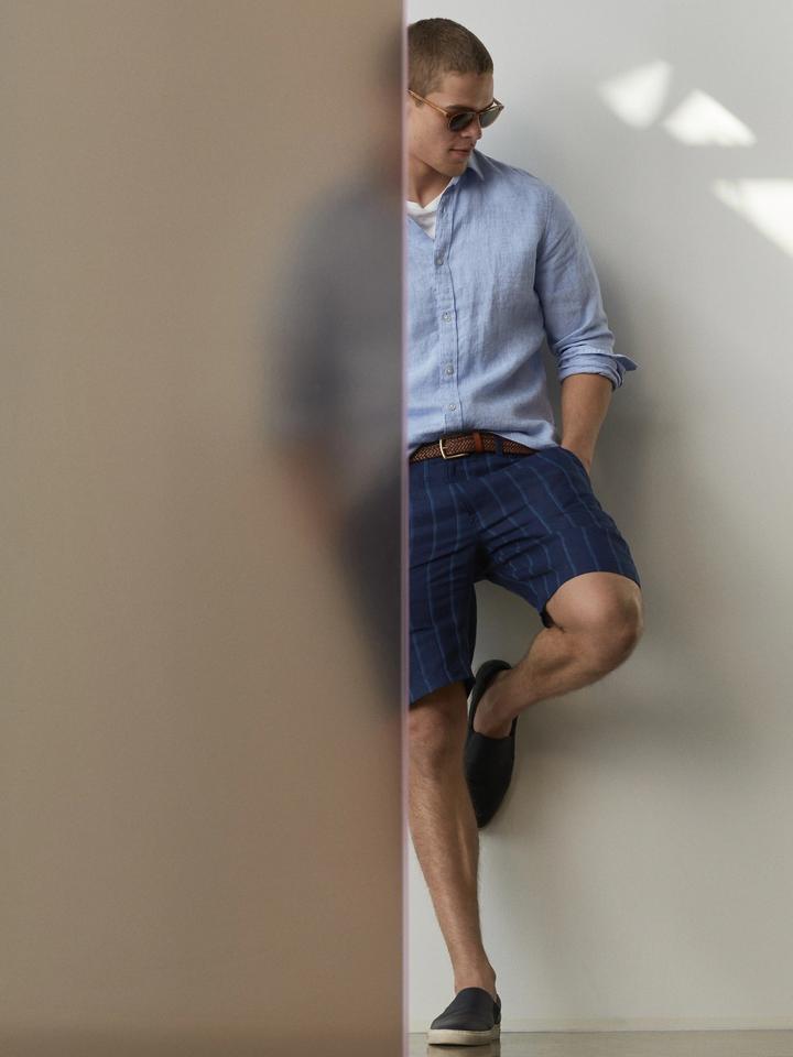 Erkek pembe Camden Standard-Fit Keten Gömlek