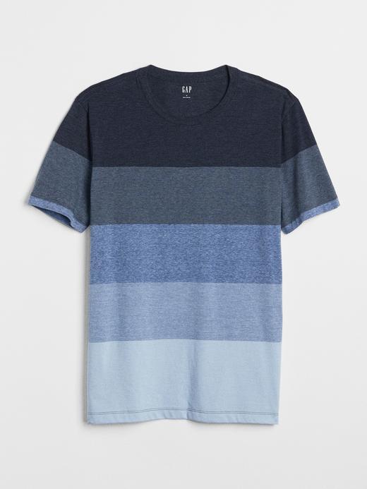 Çizgili Sıfır Yaka Kısa Kollu T-Shirt