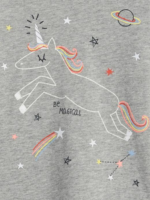 Bebek Gri Işıltılı Baskılı Uzun Kollu T-Shirt