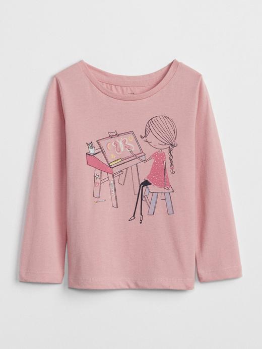 Bebek Pembe Işıltılı Baskılı Uzun Kollu T-Shirt