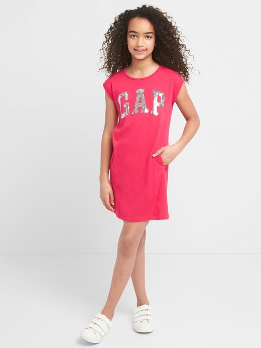 Kız Çocuk lacivert Logolu kısa kollu elbise