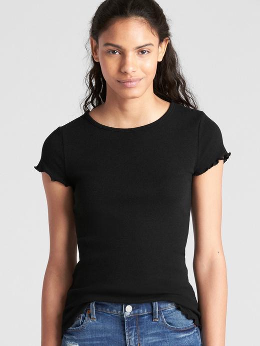 Kadın Siyah Kısa Kollu Fırfır Detaylı T-Shirt