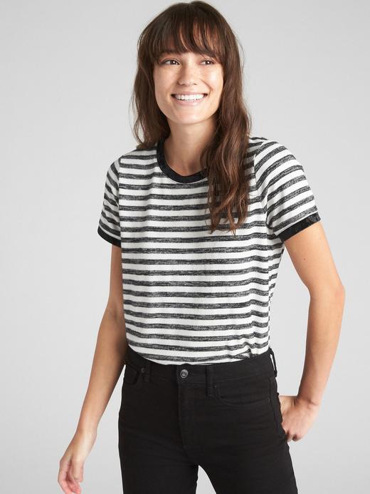 Softspun Kadife Detaylı Sıfır Yaka T-Shirt