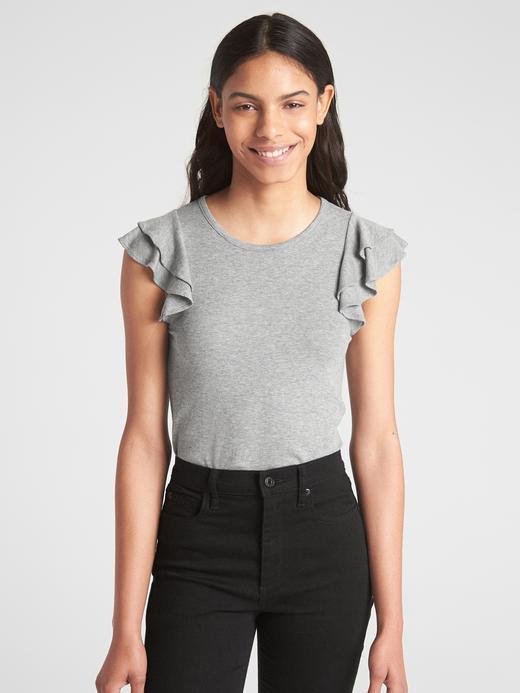 Kadın gri Kolsuz Fırfır Detaylı Bluz