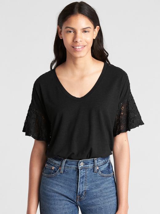 Kadın Siyah Kısa Dantel Kollu T-Shirt