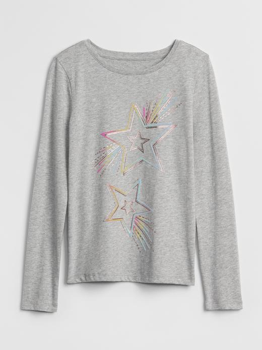Kız Çocuk gri Baskılı Uzun Kollu T-Shirt