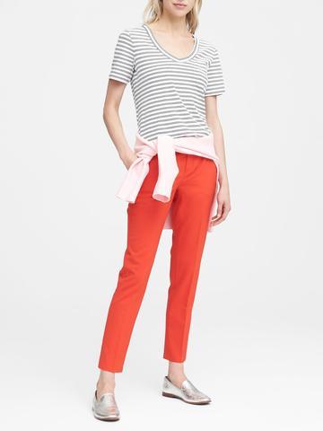Kadın kırçıllı gri Supima® Pamuklu V Yaka T-Shirt
